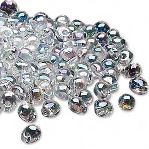 Seed bead, Miyuki, glass, transparent rainbow clear, (DP250), 4x3.4mm fringe. Sold per 10-gram pkg.