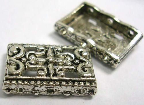 Ant Silver 3-Strand Slider Rectangle, 17mm long, 12mm wide, 3mm thick, hole: 1.5mm 20 pack