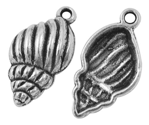 Tibetan Style Alloy Pendants, Trumpet Shell,Antique Silver,  25.5mm long, 13mm wide, 5.5mm thick, hole: 2mm  - 20 pack