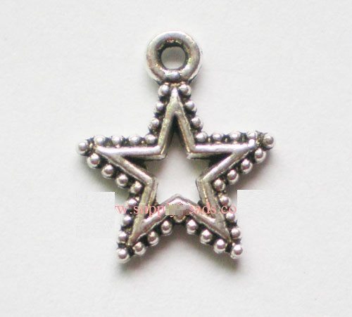 Tibetan Style Alloy Pendants, Star, Antique Silver,  18mm long, 15mm wide, 1mm thick, hole: 2mm  - 20 pack
