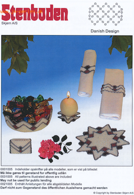 Stenboden's Pattern Book 201005 bowl, candlestick, matchbox, flacon & napkin rings (English Instructions)