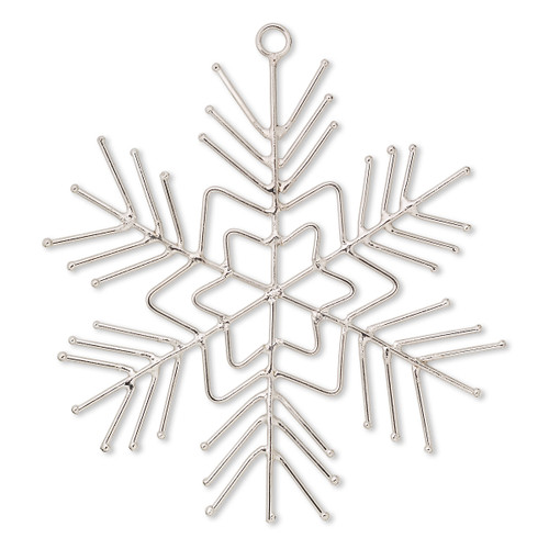 Ornament frame, steel wire 2mm thick, 5-1/2 inch snowflake. Sold individually