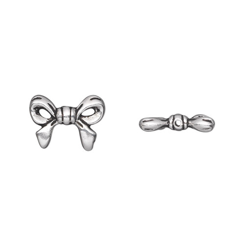 Bead, TierraCast®, antique silver-plated pewter (tin-based alloy), 14x10.5mm double-sided bow. Sold per pkg of 2