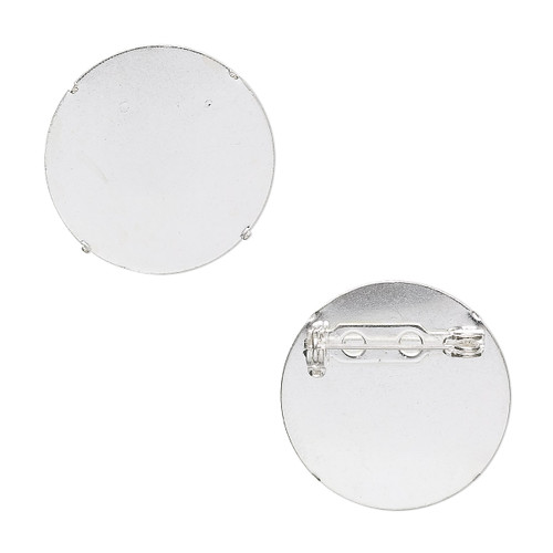 Pin back brooch, silver-plated steel, 26mm round. Sold per pkg of 2