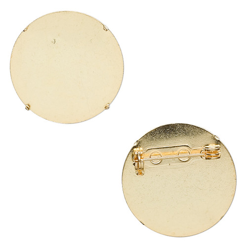 Pin back brooch, gold-plated steel, 26mm round. Sold per pkg of 10