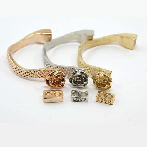 2 x Alloy Leather Cord Clasps for Bracelet Making, Rose Gold, 55x5x2mm, Hole: 6x4mm