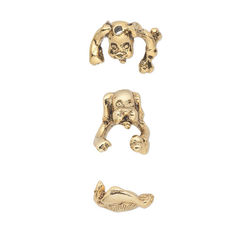 Bead cap, antiqued Gold-plated pewter (tin-based alloy), 14x12mm dog, fits 7-8mm bead. Sold per 2-piece set.