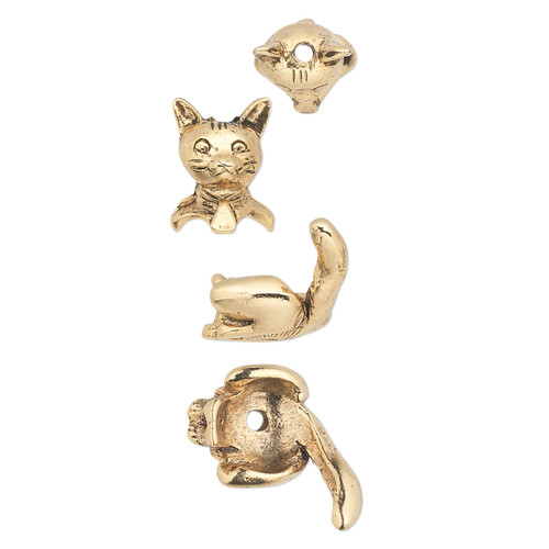 Bead cap, antiqued gold-plated  pewter (tin-based alloy), 19x10mm cat, fits 7-8mm bead. Sold per 2-piece set.