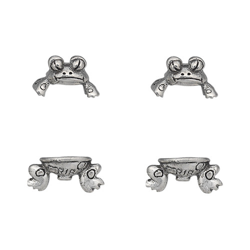 Bead cap, antiqued pewter (tin-based alloy), 19x12.5mm frog, fits 7-9mm bead. Sold per pkg of (2) 2-piece sets.