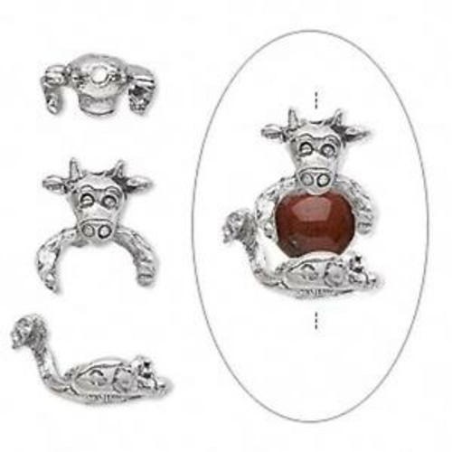 Bead cap, antiqued pewter (tin-based alloy), 19x10mm cow, fits 7-8mm bead. Sold per 2-piece set.