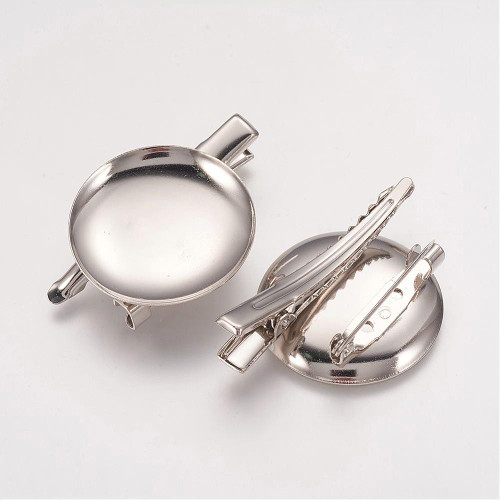 2 x Brass Hairpin/Brooch Cabochon Setting, Oval, Platinum Color, Size: 30 x 45 x 7mm, Tray: 28.5mm
