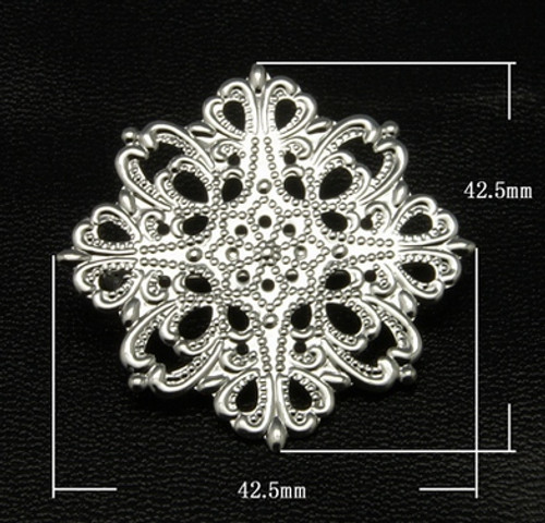 2 x Brass Brooches, Filigree Flower, Silver, 42 x 42.5mm, Pin: 33mm