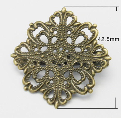 2 x Brass Alligator Clip, Filigree Flower, Antique Bronze, 42 x 42.5mm