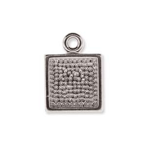 5 x Silver Plated Square Pendant base 10.5mm x 14mm