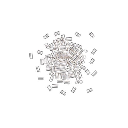 Crimp, sterling silver, 2x1.1mm micro cut tube, 0.76mm inside diameter. Sold per pkg of 10.