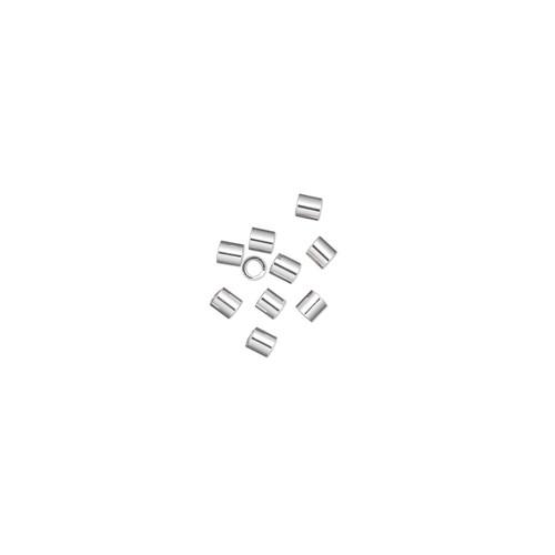 Crimp, sterling silver, 2mm cut tube, 1.4mm inside diameter. Sold per pkg of 10.