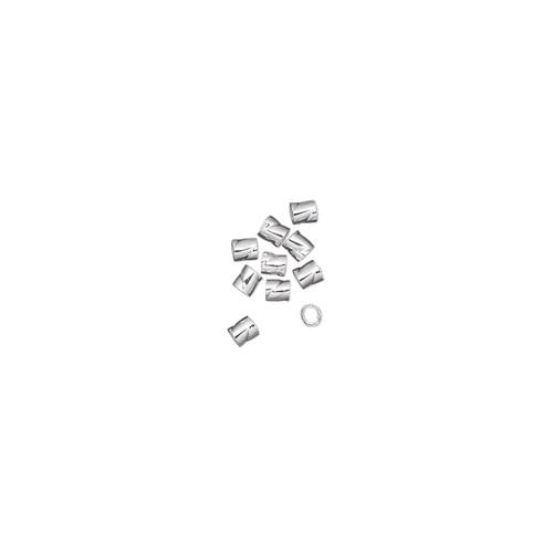 Crimp, sterling silver, 2mm twisted, 0.8mm inside diameter. Sold per pkg of 10.