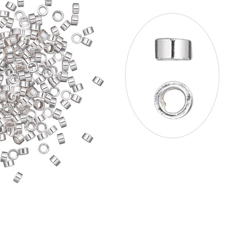 Crimp, sterling silver, 2x1mm cut tube, 1.1mm inside diameter. Sold per pkg of 10.