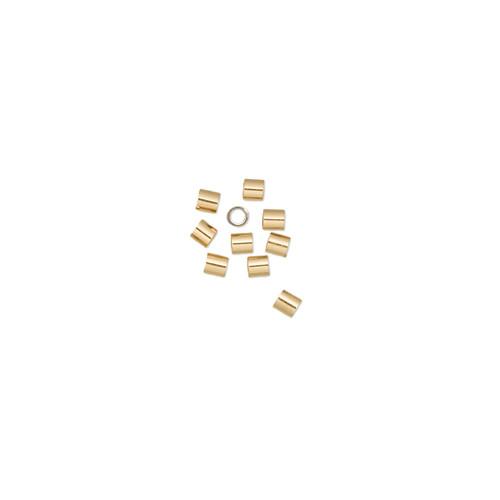 Crimp, 12Kt gold-filled, 2mm smooth tube, 1.1mm inside diameter. Sold per pkg of 10.