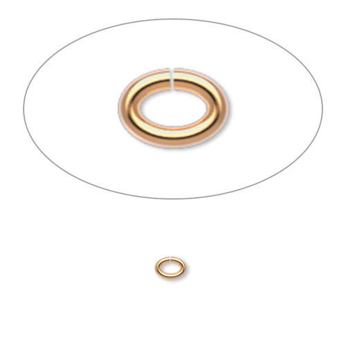 Jump ring, gold-plated brass, 4x3mm oval, 2.5x1.5mm inside diameter, 20 gauge. Sold per pkg of 100.