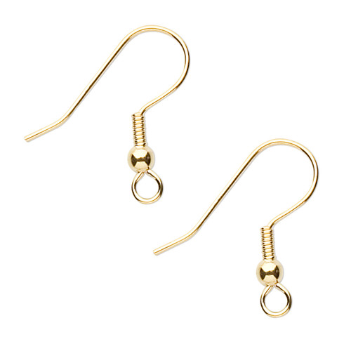 Ear wire, gold-finished stainless steel, 20mm fishhook with 3mm ball and 4mm coil with open loop, 21 gauge. Sold per pkg of 5 pairs.