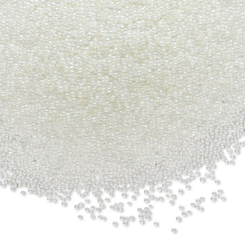 Bead, coated glass, 1mm undrilled micro bead round. Sold per 15-gram bag Translucent Clear AB