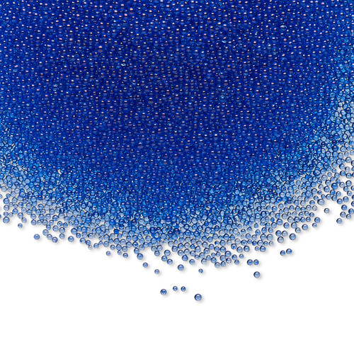 Bead, coated glass, 1mm undrilled micro bead round. Sold per 15-gram bag Translucent Blue