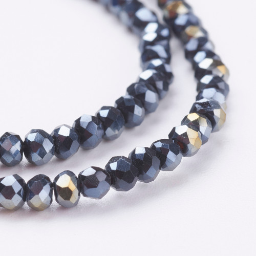 "Electroplate Glass Bead, Faceted Rondelle, Black AB, 3x2mm; Hole: 0.5mm, approx 190pcs per strand, Sold per 2 x 16.7"" strands."