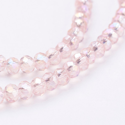"Electroplate Glass Bead, Faceted Rondelle, Pearl Pink AB, 3x2mm; Hole: 0.5mm, approx 190pcs per strand, Sold per 2 x 16.7"" strands."