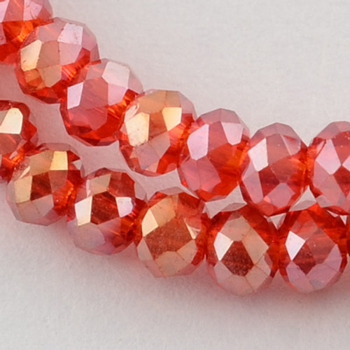 "Electroplate Glass Bead, Faceted Rondelle, Red AB, 3x2mm; Hole: 0.5mm, approx 190pcs per strand, Sold per 2 x 16.7"" strands."