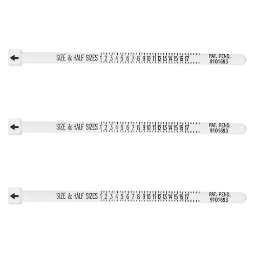 Tool, Multisizer™ ring sizing gauge, acrylic, white. Sold per pkg of 3.
