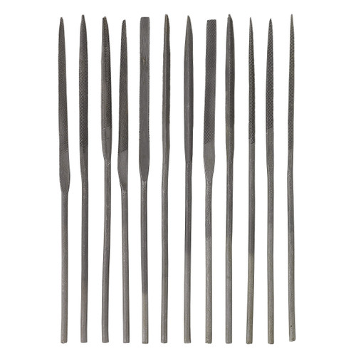 Needle files, carbon steel, 4 inches. Sold per 12-piece set.