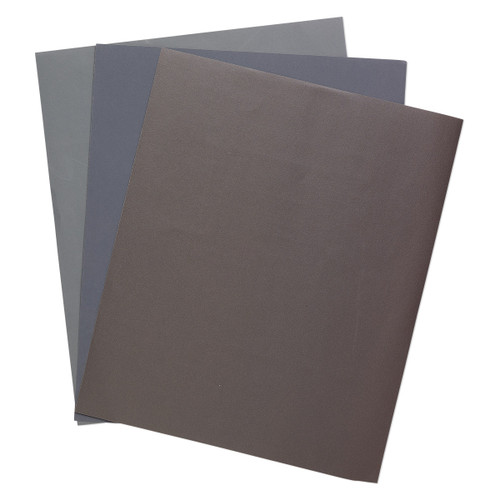 Sandpaper, silicon carbide, grey, 600 / 1200 / 2000 grit, 11x9-inch rectangle. Sold per pkg of 3.