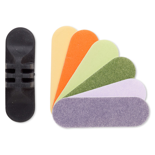 Sanding pad, abrasive / foam / rubber, black and assorted colors, 100-320 grit, 3x1-inch oval with holder. Sold per 7-piece set.
