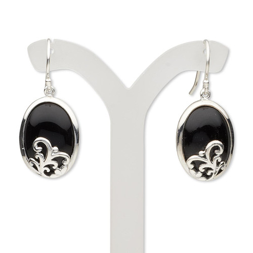 Earring, black onyx (dyed) and sterling silver, 34mm with 18x13mm oval and fishhook ear wire. Sold per pair.