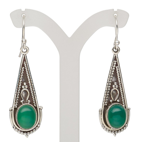 Earring, green onyx (dyed) and antiqued sterling silver, 49mm with fancy teardrop and fishhook ear wire, 21 gauge. Sold per pair.