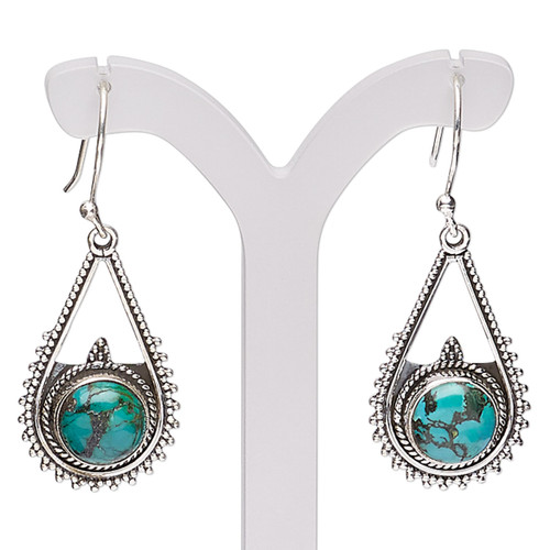 Earring, Create Compliments®, magnesite (dyed / stabilized) and antiqued sterling silver, turquoise green, 40mm with beaded teardrop and fishhook ear wire, 21 gauge. Sold per pair.