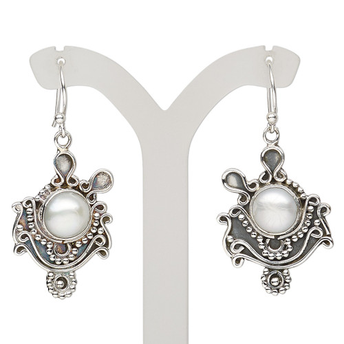Earring, cultured freshwater pearl (bleached) and antiqued sterling silver, 41mm with fishhook ear wire, 21 gauge. Sold per pair.