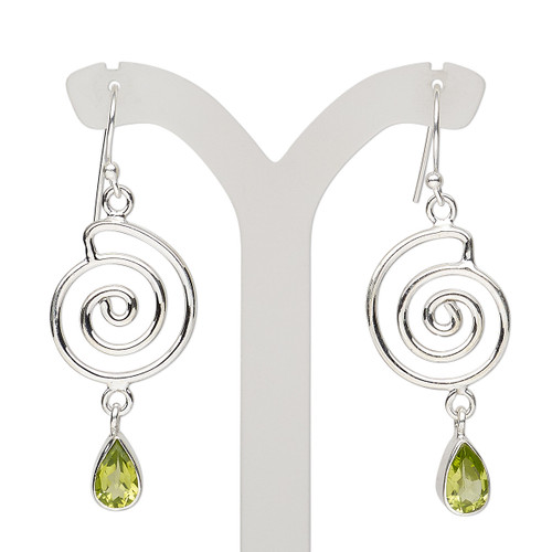 Earring, peridot (natural) and sterling silver, 49mm with spiral and fishhook ear wire, 21 gauge. Sold per pair.