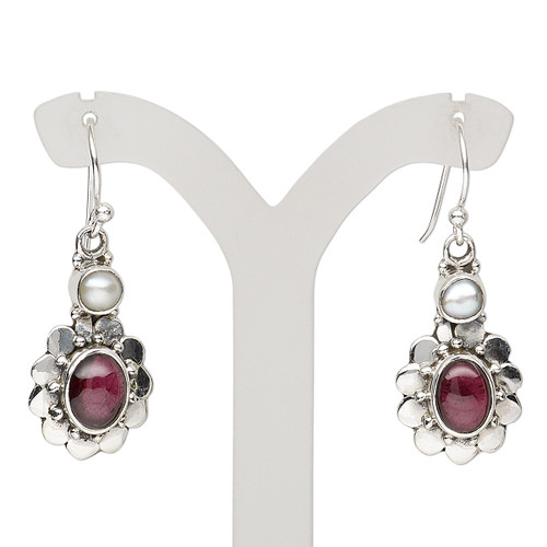 Earring, garnet (natural) / cultured freshwater pearl (bleached) / antiqued sterling silver, 34mm with fancy oval and fishhook ear wire, 21 gauge. Sold per pair.