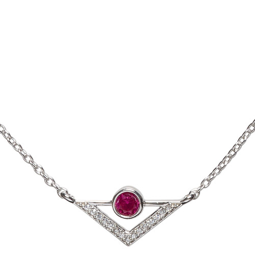 Necklace, Simple and Sleek Jewelry™, cubic zirconia pendant and rhodium-plated sterling silver chain, 16 inches with 2-inch extender chain. Sold individually.