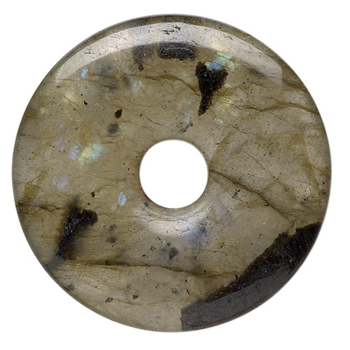 Component, labradorite (natural), 25mm round donut, C grade, Mohs hardness 6 to 6-1/2. Sold individually.