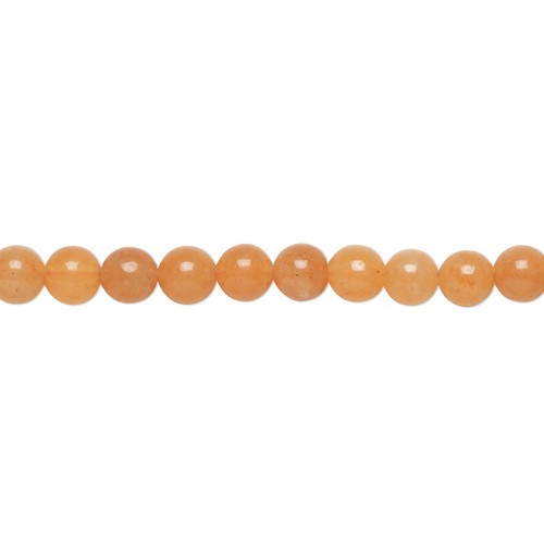 "Bead, red aventurine (natural), 4mm round, B grade, Mohs hardness 7. Sold per 15-1/2"" to 16"" strand."