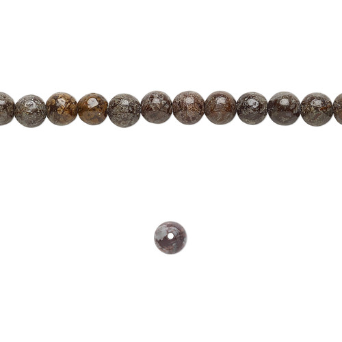 "Bead, brown snowflake jasper (natural), 4mm round, B grade, Mohs hardness 6-1/2 to 7. Sold per 15-1/2"" to 16"" strand."