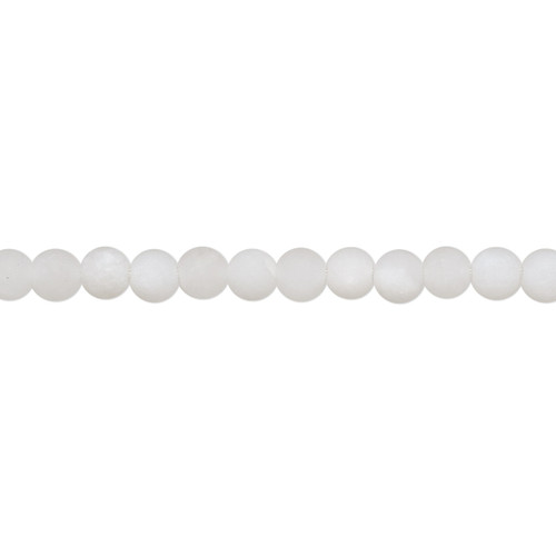 Bead, snow quartz (natural), matte, 4mm round with 0.5-1.5mm hole, B grade, Mohs hardness 7. Sold per 8-inch strand, approximately 50 beads.