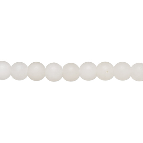 Bead, snow quartz (natural), matte, 6mm round with 0.5-1.5mm hole, B grade, Mohs hardness 7. Sold per 8-inch strand, approximately 35 beads.