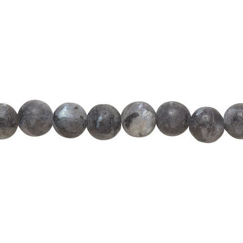 Bead, blue labradorite (natural), matte, 6mm round, B grade, Mohs hardness 6 to 6-1/2. Sold per 8-inch strand, approximately 30 beads.