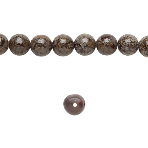 "Bead, brown snowflake jasper (natural), 6mm round, B grade, Mohs hardness 6-1/2 to 7. Sold per 15-1/2"" to 16"" strand."