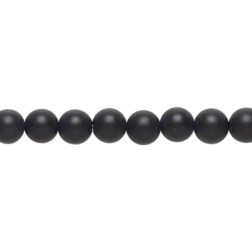 Bead, black onyx (dyed), matte, 6mm round with 0.5-1.5mm hole, B grade, Mohs hardness 6-1/2 to 7. Sold per 8-inch strand, approximately 35 beads.