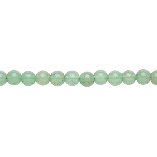 """Bead, green aventurine (natural), 4mm round with 0.5-1.5mm hole, B grade, Mohs hardness 7. Sold per 15-1/2"""" to 16"""" strand."""